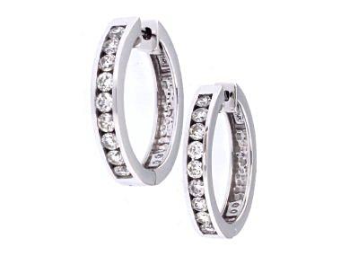 14kt Locking Diamond Hoop Earring