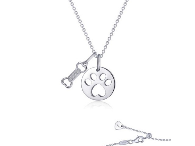 Paw Print Disc and Dog Bone Necklace
