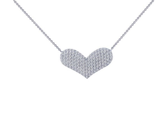 Cubic Puff Heart Necklace