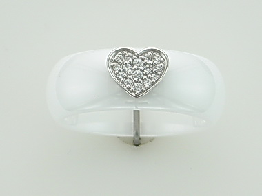 White Ceramic Silver Heart Ring