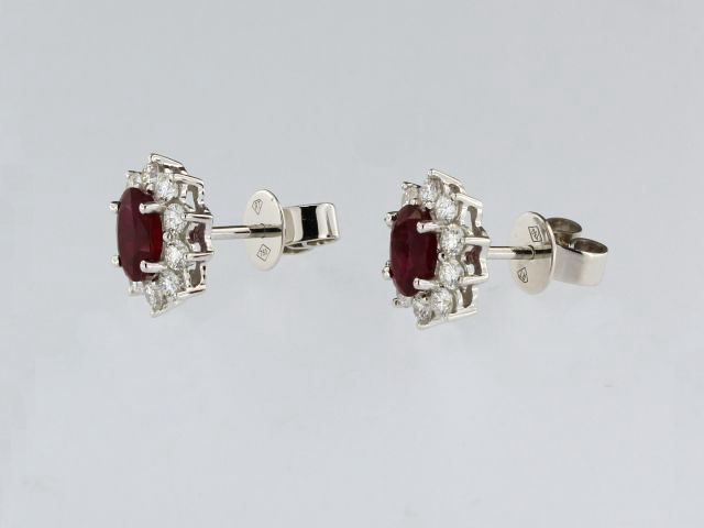Oval Ruby & Diamond Earrings