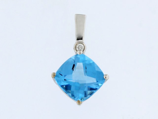 Blue Topaz & Diamond Pendant