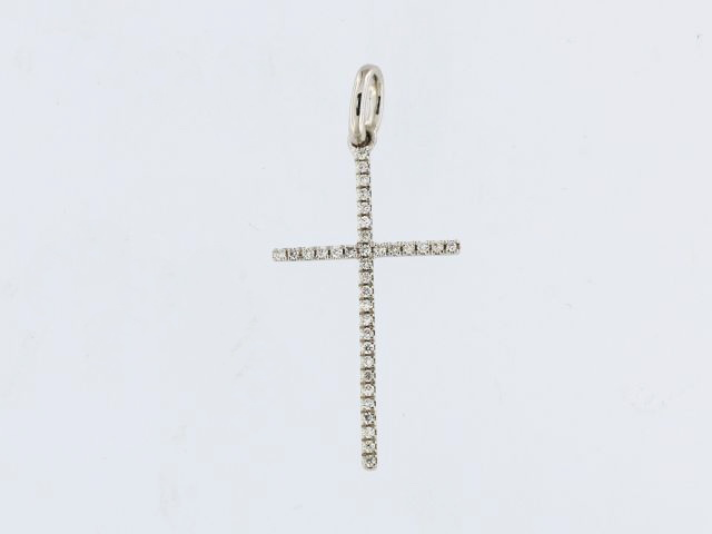 18KW Diamond Cross Pendant
