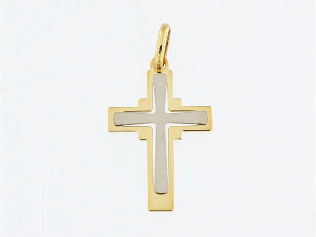 10KT Yellow and White Cross