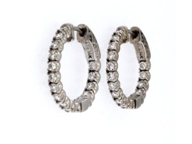 Locking Diamond Hoop Earrings