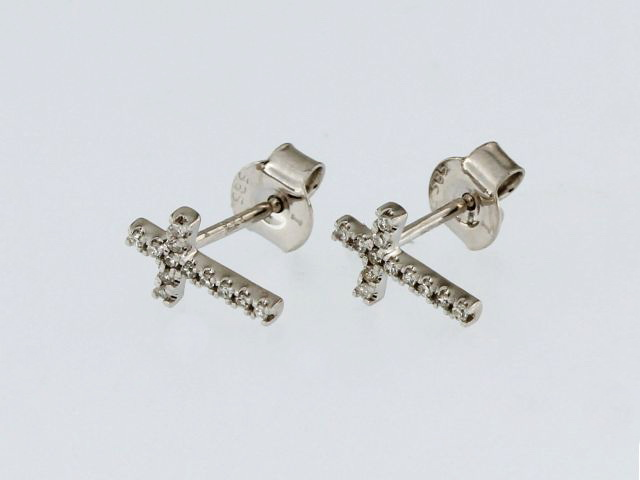 Diamond Cross Earrings