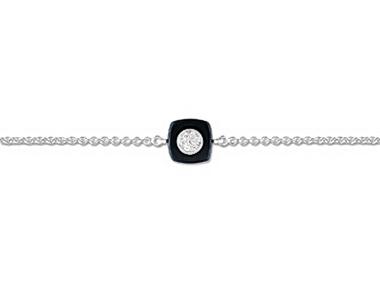 Black Ceramic & Silver Bracelet