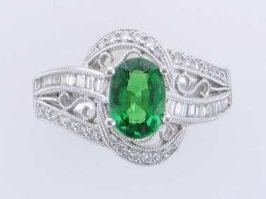 Tsavorite Garnet & Diamond Ring