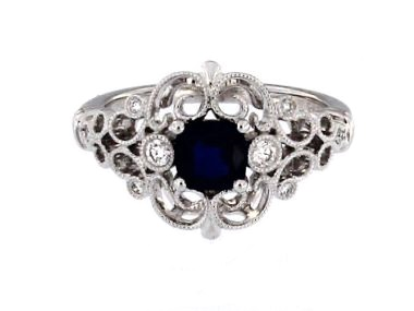 Antique Style Blue Sapphire Ring