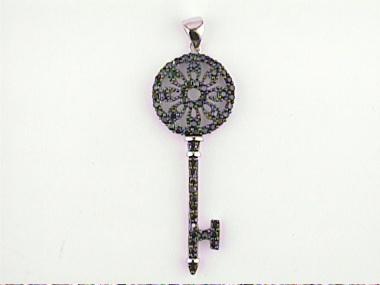 Silver & Black C Z Key Pendant
