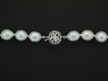 Silver South Sea Strand Of Pearls