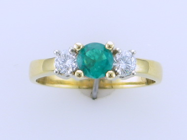 Emerald & Diamond Trinity Ring
