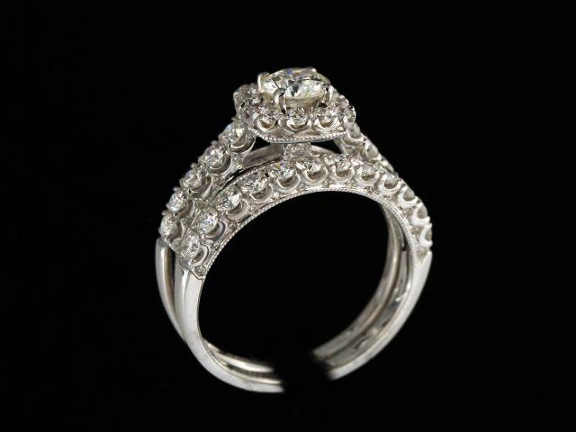 Halo Engagement Ring & Band