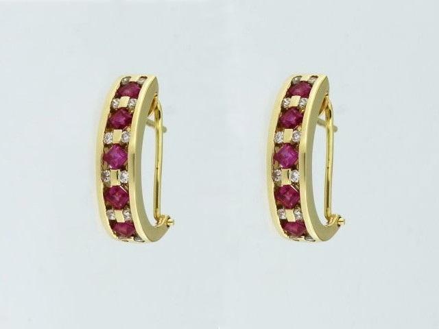 Ruby & Diamond Omega Back Earrings