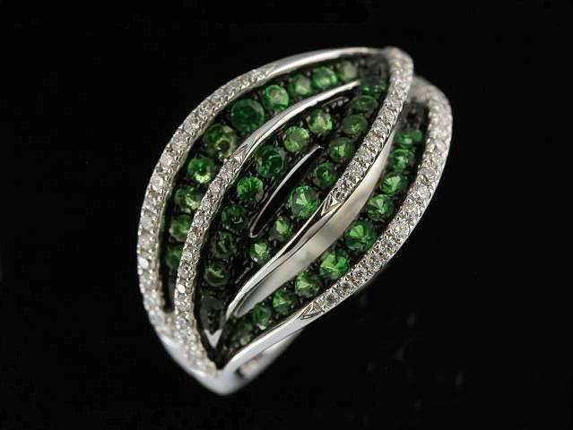 Green Garnet & Diamond Ring